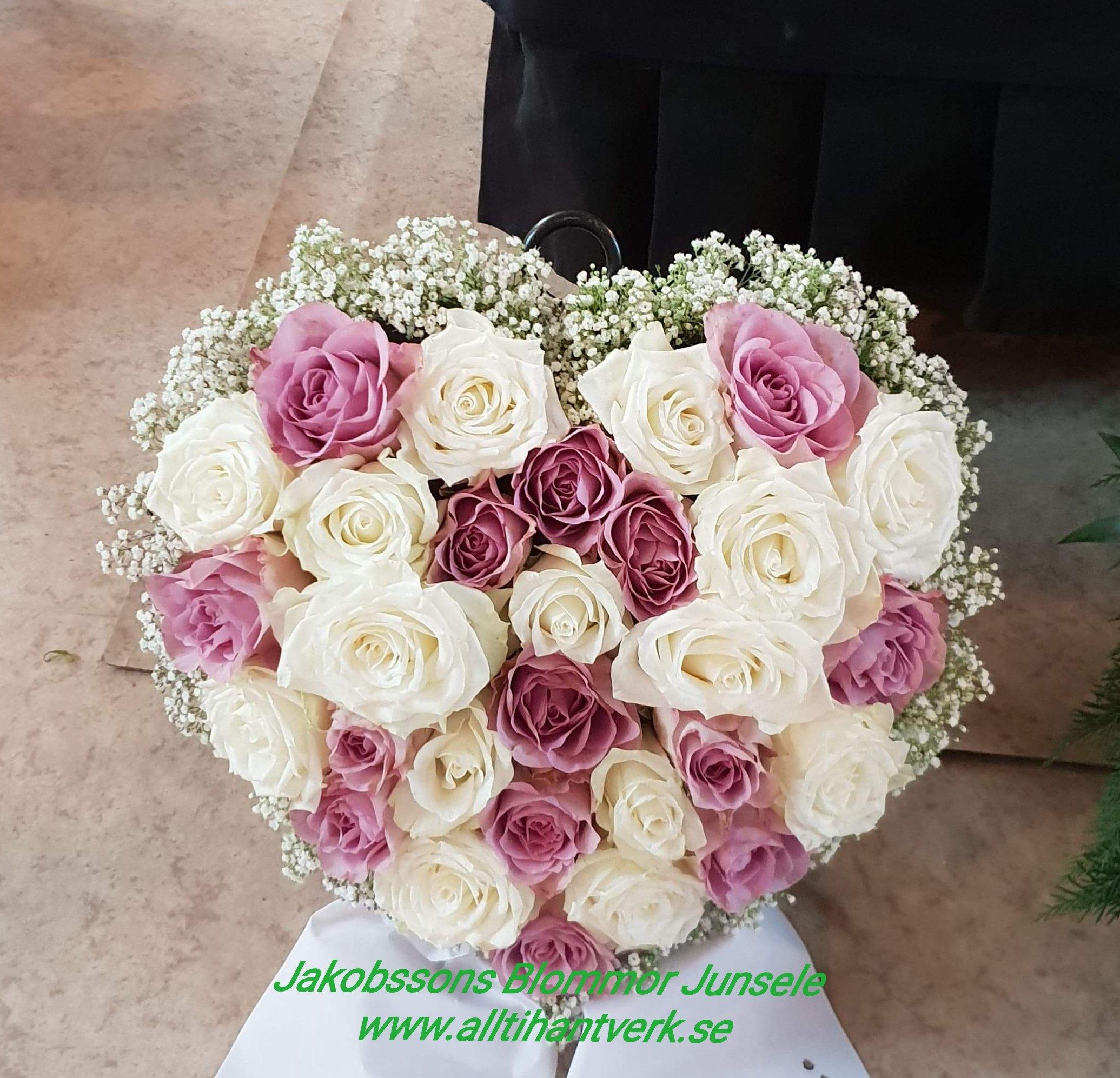Hjärta rosor brudslöja